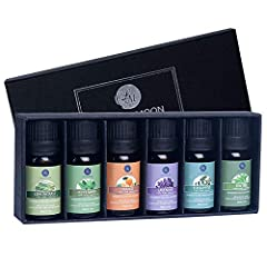 This gift set includes six 10mL bottles of aromatherapy essential oils: lemongrass, peppermint, orange, lavender, eucalyptus, and tea tree. Achieve greater mind acuity & promote & and happiness with this set.Easy to mix and match for blending or dilu...