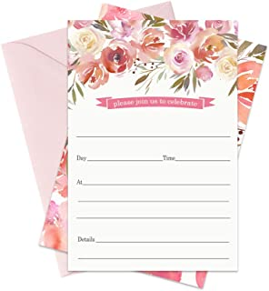 Blushed Floral Party Invitations and Envelopes (15 Pack) All Occasions