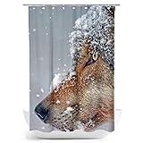 fotobar!style Duschvorhang 140 x 200 cm Wolf - Imposanter Jäger