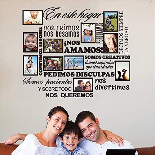 pegatina de pared frases Etiqueta de Marco de Fotos Familiares Reglas de Casa Españolas inos Amamos Decoración Del Hogar