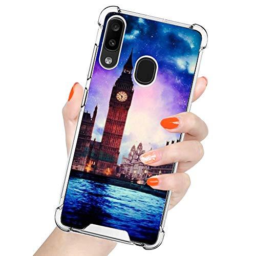 UZEUZA Compatible con Samsung Galaxy A30/A20 The Clock Tower of London Pattern Funda transparente para niñas y mujeres
