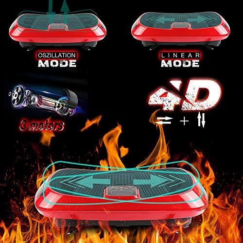 Turefans 4D Luxuriös vibrationsplatte, Vibroshaper, LCD-Anzeige, 3 Motoren, Bluetooth-Funktion, Mit Fernbedienung