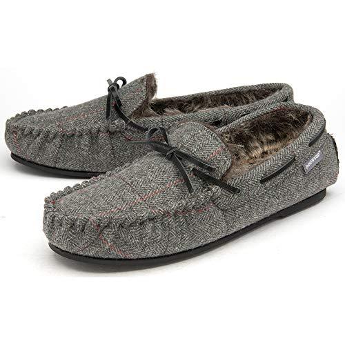Dunlop Pantuflas de mocasín para hombre, con forro de piel sintética, cómodas de espuma viscoelástica, tallas 7-12, color Gris, talla 46 EU