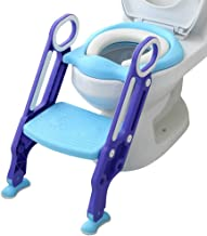Mangohood Potty Training Toilet Seat with Step Stool Ladder for Boys and Girls Baby Toddler Kid Children Toilet Training Seat Chair with Handles Padded Seat Non-Slip Wide Step (Blue Purple)