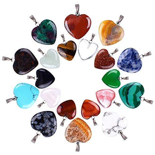 20 Piezas Colgantes de Piedra de Forma de Corazón Cuentas Chakra Dijes de Cristal de DIY, 2 Tamaños Diferentes, Color Surtido