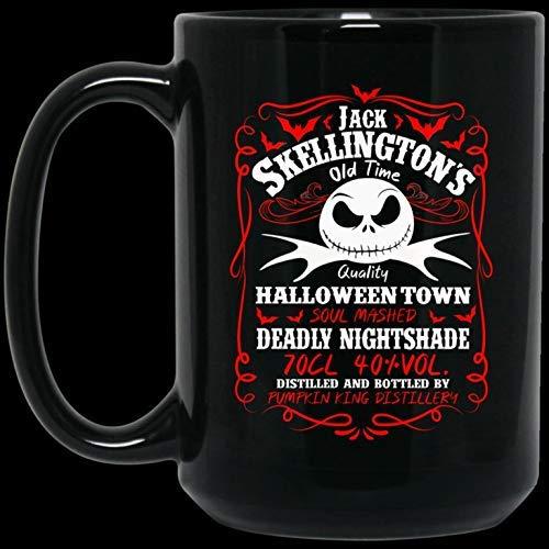 N\A Etiqueta de Whisky Jack Skellington Divertida la Pesadilla Antes de Navidad Taza de café de cerámica - Divertida Taza de Halloween y Navidad - Taza de café