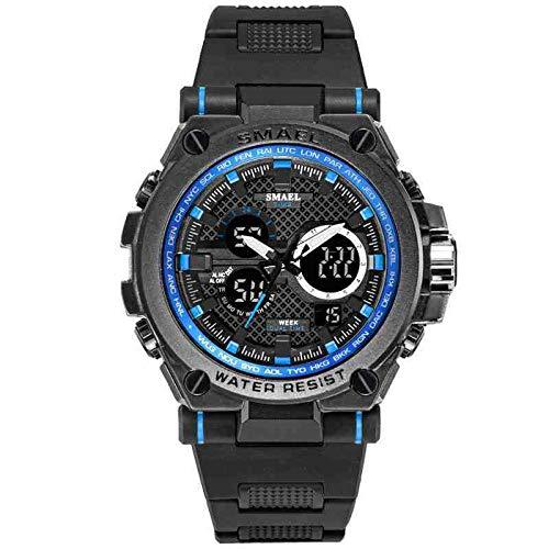 OLUYNG Reloj de pulsera deportivo para hombre Led 50 m impermeable digital multifunción cuarzo relojes para hombre moda S choque cronómetro, Negro y azul., Correa