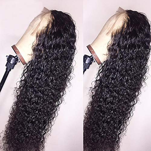 BEEOS 360 Lace Frontal Wigs Human Hair Deep Curly Wig Pre Plucked with Baby Hair Bleached Knots Free Part Natural Color Real Unprocessed Brazilian Hair for Black Women with New Detachable Band 22 Inch
