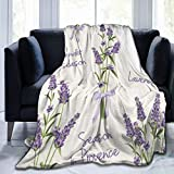 KOSALAER Bedding Manta,Elegante Lavanda Púrpura Vintage Jardín Hierba Flor Floral Amante Romántico Fantástico,Mantas cálidas de Sala de Estar/Dormitorio Ultra Suaves para Todas Las Estaciones
