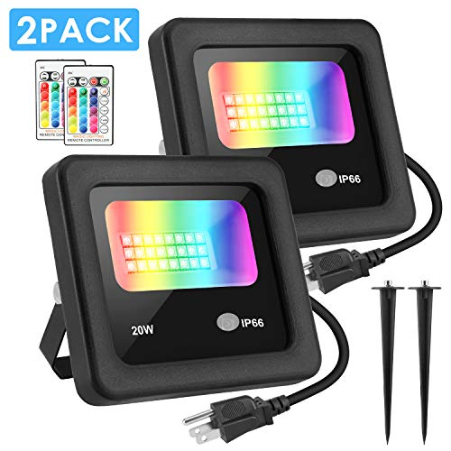 LED Flood Light, MOICO 20W RGB Color Changing Floodlight with Remote Control, IP66 Waterproof Outdoor Indoor Flood Light, 4 Modes Dimmable Wall Stage Light for Party, Garden, Landscape - 2Pack