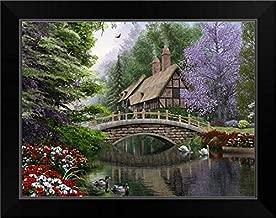 CANVAS ON DEMAND River Cottage Black Framed Art Print, 19