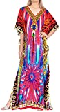 LA LEELA Women's Caftan Cover Up Beach Outfit Night Dress US 14-22W Multi_V571