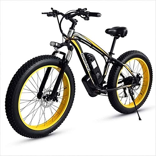 RDJM Electric Bike, 26 Inch Adult Fat Tire Electric Mountain Bike, 350W Aluminum Alloy Off-Road Snow Bikes, 36/48V 10/15AH Lithium Battery, 27-Speed Lithium Battery Beach Cruiser for Adults