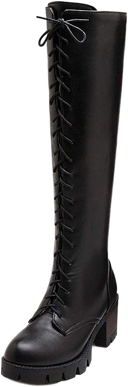 MisaKinsa Women Platform High Heels Knee High Boots Zip