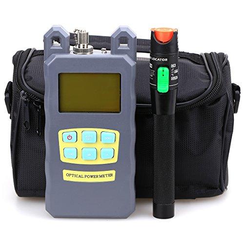 Cruiser Medidor de potencia y testeador para fibra óptica FTTH con localizador visual de fallos de 30 mW y bolsa de herramientas (3 en 1) longitud de onda 70 dBm + 10 dBm