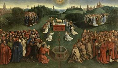 'Jan Van Eyck (Copy After) - The Adoration Of The Lamb, 1432' Oil Painting, 30x52 Inch / 76x131 Cm ,printed On Perfect Effect Canvas ,this High Resolution Art Decorative Canvas Prints Is Perfectly Suitalbe For Study Decor And Home Decoration And Gifts