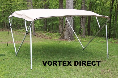 Vortex TAN/BEIGE SQUARE TUBE FRAME 4 BOW PONTOON/DECK BOAT BIMINI TOP 8' LONG, 91-96