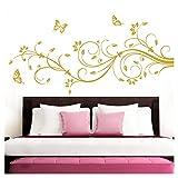 Grandora Wandtattoo XXL Blumenranken Schmetterlinge Blumen I Gold (BxH) 90 x 39 cm I Schlafzimmer Liebe Flur Wohnzimmer modern Aufkleber Wandaufkleber W1073