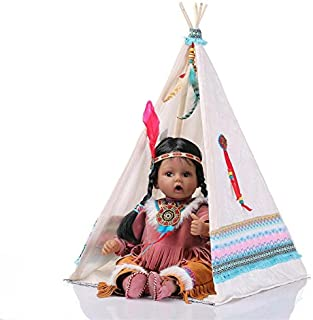 Binxing Toys Black Reborn Dolls Baracial African American Baby Girl 20inch Indian Baby Soft Silicone Limbs and Weighted Body Realistic Newborn Baby Cute Preschool Toys for Children 3 Age+