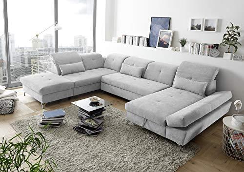 MELFI Wohnlandschaft in U-Form, Stoffbezug Silber - Ausziehbares Sofa mit Schlaffunktion & Bettkasten - 350 x 73 (96) x 245 cm (B/H/T)