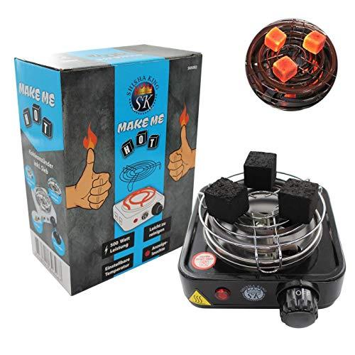Shisha King® elektrischer Mini Kohleanzünder für Shisha Kohle mit Gitter | 500 Watt | Kleiner Premium Kohleofen Naturkohle (schwarz)