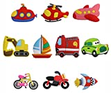 Penta Angel Rubber Fridge Magnets 10Pcs Colorful Transport Car Sailboat Airplane Helicopter Excavator Minivan Bicycle Motorcycle Whiteboard Refrigerator Magnets for Boys Girls Education Game Toy Gift