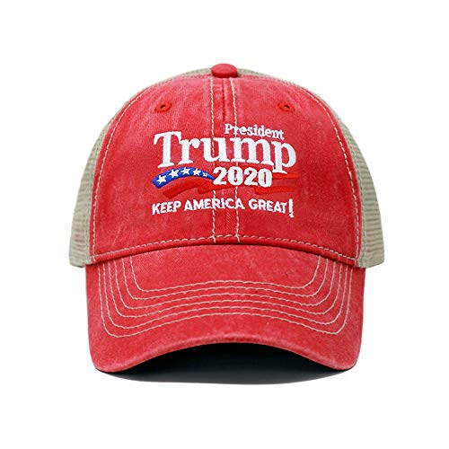 ChoKoLids Trump 2020 Keep America Great Campaign Embroidered US Hat Baseball Trucker Cap New TC101 (Trucker Red)