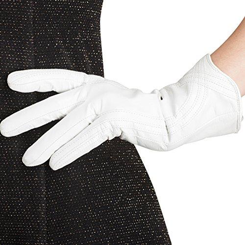 Nappaglo Damen Lederhandschuhe Winter Touchscreen Lammfell Elegant Echtleder Warm Handschuhe Outdoor, weiß, L