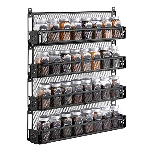 Oyydecor Spice Rack Organizer Wall Mounted 4-Tier Stackable Counter-top or Wall Mount Spice Rack Spice Shelf Storage RacksGreat for Kitchen Household ItemsBathroom and More