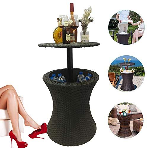 Cocktail Tische, Rattan-Stil im Freien Cool Bar Ice Cooler Tisch, Café im Freien Gartenmöbel, Eiskübel