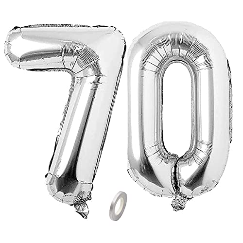 Jrzyhi Globos con números 70 cumpleaños plateados, globos gigantes con número 70, número XXL 70. Happy Birthday 70, globos gigantes para cumpleaños, bodas o fiestas, decoración de 32 pulgadas