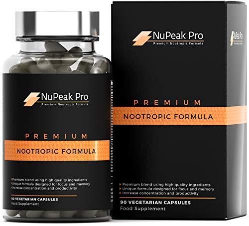 [NuPeak Pro] Fórmula nootrópica premium | Nuevo suplemento de cerebro de onda alfa para enfoque rápido y energía | 15 ingredientes activos | Potenciador cognitivo nootrópico - 90 cápsulas HPMC