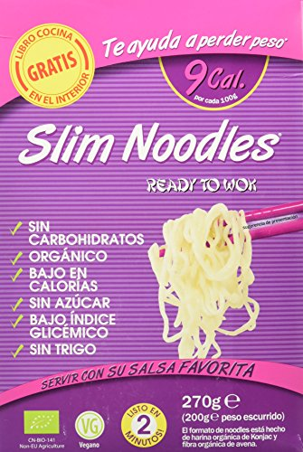 Slim Pasta Noodles Harina Orgánica de Konjac, 5 Paquetes de 270 gr - Total: 1350 gr