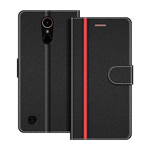 COODIO Handyhülle für LG K10 2017 Handy Hülle, LG K10 2017 Hülle Leder Handytasche für LG K10 2017 Klapphülle Tasche, Schwarz/Rot