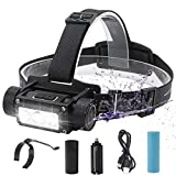 BORUiT 1000 Lumen 3 LED Rechargeable Headlamp,6 Lighting Modes,IPX4 Water Resistant,Type-C USB Rechargeable,4000 mAh Work Headlight with Pen Clip for Running, Camping, Hiking & More