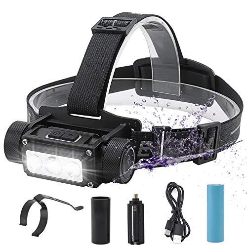 BORUiT Linterna frontal recargable de 1000 lúmenes,6 modos de iluminación, IPX4 resistente al agua, recargable, tipo C, 4000 mAh, con clip