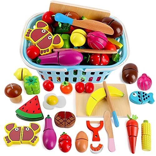 kramow Frutas y Verduras Juguete para Cortar Madera,Comida Juguete,Accesorios Cocina Juguetes,Cocina Juguete Madera