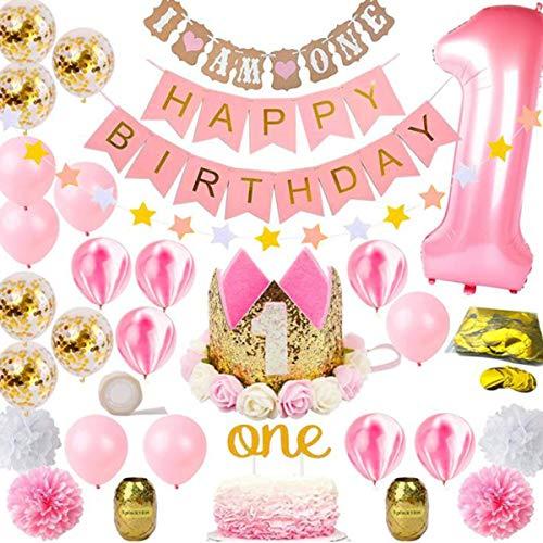 Yunhany Direct 1e Verjaardag Party Decor Supplies Set, Gelukkige Verjaardag Banner Latex en Foil Ballonnen Cake Topper Papier Bloemen roze