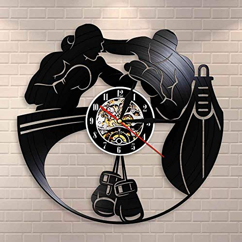 DJDLNK boksing home decor wandklok bokshandschoenen bokszak infighters wandklok fighting sport boksers geschenk Met led.