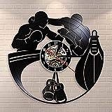 UIOLK Reloj de Pared con decoración de casa de Boxeo, Guantes de Boxeo, Saco de Boxeo, Reloj de Pared con Disco de Vinilo, Reloj de Pared, Regalo de raspador de Boxeador Deportivo de Lucha