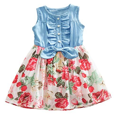 Niyage Girls Princess Dress Sleeveless Denim Tops Floral Tutu Skirts 5 White