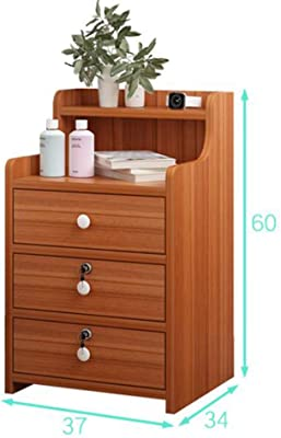 Simple 3 Drawer High Bedside Table, Bedroom Bedside Table Coffee Table with Lock Cabinet with Open Shelf and Lock Drawer for Family Home University Dormitory,Pink