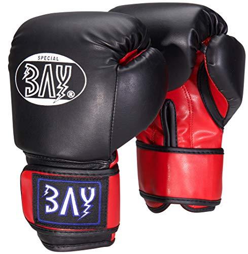 "BAY® ""MINI FIGHTER"" KINDER 8 Unzen Boxhandschuhe schwarz rot Kids klein Box-Handschuhe, Leder-PU, UZ OZ, small Hand Miniboxhandschuhe Kinderboxhandschuhe"