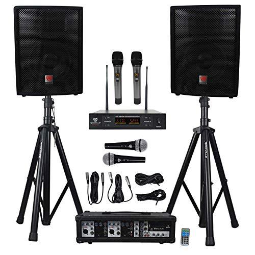 Rockville RPG2X10 Powered Bluetooth Mixer+(2) 10' Speakers+Stands+Wireless Mics