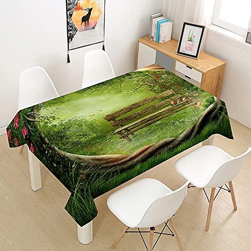 FANSU 3D Foresta Tovaglia Idrorepellente, Rettangolare Impermeabile Antimacchia Moderne Cucina Lavabile Copritavolo Quadrata Tavolo Panno per Sala da Pranzo Giardino (Erba Verde,140x200cm)