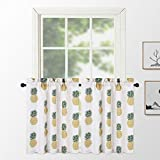 NANAN Tiers Curtains Pineapple Printed Linen Textured...