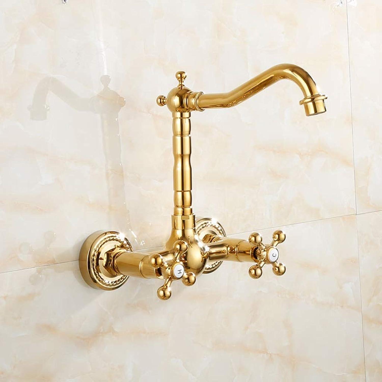 Niuniu Kupfer Hot Cold Kitchen Sink Hahn Wasserhahn Luxus Becken Gold überzogen (Farbe   D)