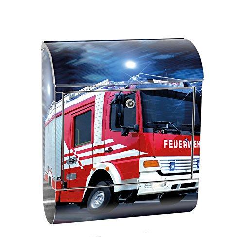 liwwing Briefkasten Edelstahl mit Motiv und Zeitungsfach, Zeitungsrolle als XXL Design Wandbriefkasten | Feuerwehr Auto Nacht Lichter Skyline | no. 0535