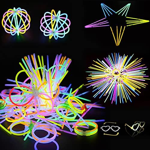 Zeaye 100pCS resplandor palos, barras luminosas con conectores, conectores para pulseras, collares, luces químicas resplandor pega el partido