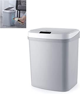 Gluckluz Automatic Dustbin Smart Trash Can Motion Infrared Sensor Garbage Storage Barrels with Lid 15 Liters Rubbish Waste...